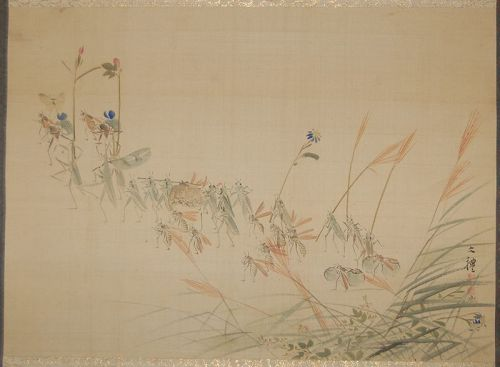 Scroll painting, mitate-e, insects in a daimyo procession, Japan
