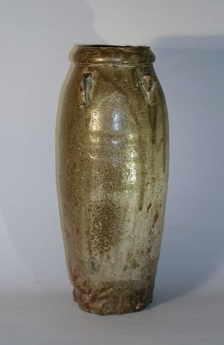 Slender storage jar, stoneware, green ash glaze, Tanba or Seto, Japan