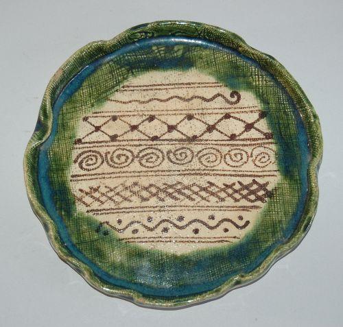 Ceramic aburazara, lotus leaf-shape, Seto region Oribe, Japan
