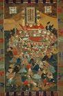 Scroll painting, Nehanzu, Death of Buddha, Nichiren shu sect, Japan