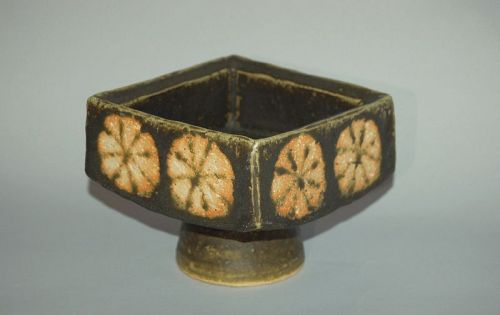 Square footed ikebana flower arrangement vessel, Chrysanthemums, Japan