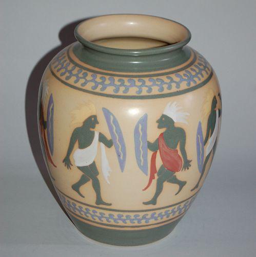 Kyo-yaki vase, tribal warriors, pastel glaze painting, Gyozan, Japan