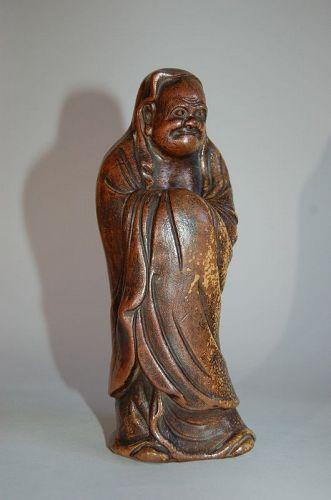 Stoneware statue of standing Daruma, Bizen ware, Japan