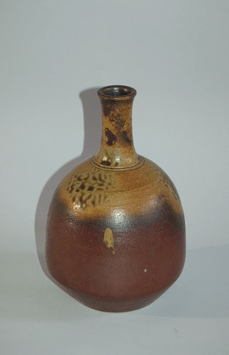 Ceramic tokkuri sake bottle, Bizen ware with yellow ash glaze, Japan
