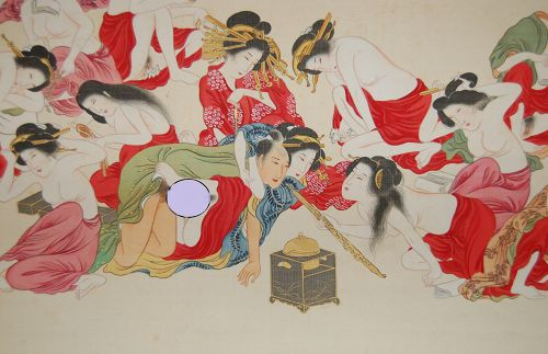 Hanging scroll, shunga, man with pipe surrounded by many women, Japan