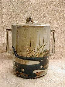 Japanese water jar, stoneware, Kutani, 19th c.