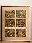Set of Japanese erotic prints on silk, Meiji era