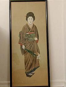 Ukiyoe painting, portrait of a young woman, Japan 19th