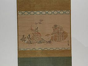 Hanging scroll, Daikoku and Ebisu, Japan 19th century