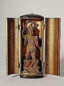 Zushi with sculpture of Bishamonten, Japan 19th c.
