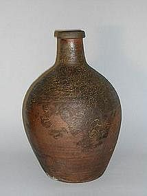 Large bottle for sake, stoneware, Tanba, Japan 19th c