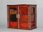 Lunch picnic box, burl wood, lacquer,Japan, Meiji era
