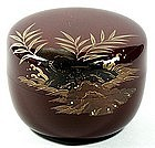 Natsume tea caddy, lacquer, reeds and rocks, Taien, Japan, 20th c.