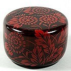 Natsume tea caddy, lacquer, chrysanthemums, Sorin, Japan 20th c