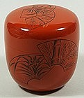 Natsume tea caddy, design with fans, flowers, lacquer, Japan, 20th c.