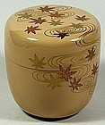 Natsume tea caddy, maple leaves in water, lacquer, Japan 20th c.