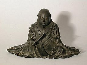 Small figure of Nichiren, lacquered wood, Japan, 19c