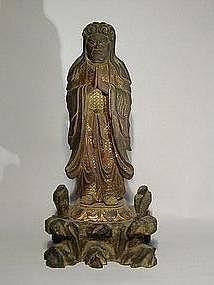 Figure of Gyochu Kishimojin, wood, Japan, 18/19th c.
