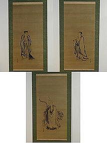 Scroll, Four Sleepers, Kano Tsunenobu style, 18/19th c.
