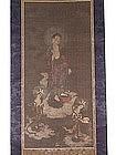 Scroll painting, descent of Amida Buddha, Japan, 18th c