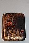 Small lacquer box, bird in plum tree, Japan, Edo period
