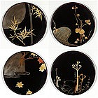 Set of five lacquer plates, Korin style, Japan, 20th c.