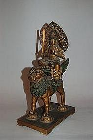 Wooden sculpture of Monju bosatsu, Japan, Meiji era