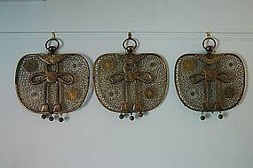 Set of three gilt bronze keman, Japan, Edo period