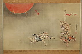 Scroll painting, hyakki yako, goblins, Kano Seisenin, Japan, 19th c