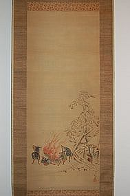 Hanging scroll, hunters, after Hokusai, 19th c