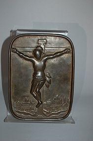 Bronze fumi-e or ebumi, crucifix, Japan, 17th c