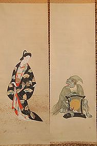 Pair scroll paintings, oni & bijin, Kason, Japan 20. c