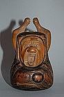 Tonkotsu, yawning Daruma, wood, Japan, 19th century