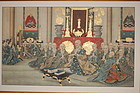 Painting, monks and musicians, Japan, 20th century