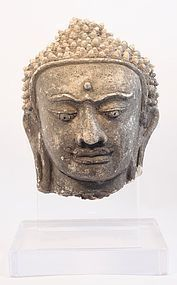 Northern Thai Haripunjaya stucco head of Buddha 11thc