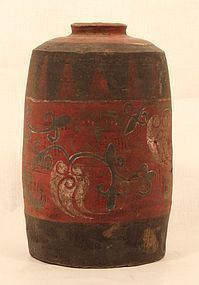 Chinese Han Dynasty 206 BC-220 AD painted offering jar
