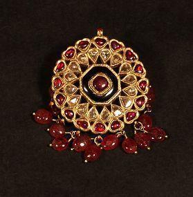 Indian antique Polki and ruby Kundan pendant