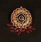 Indian antique Polki and ruby Kundan pendant v9