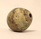 Pre Columbian Chavin-Moche spherical copper lime bottle