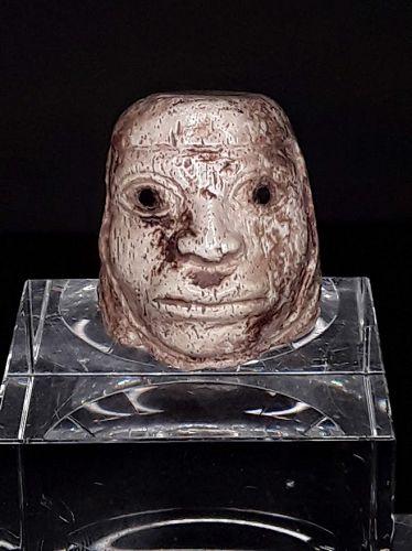 Peruvian Moche Pre Columbian carved bone portrait head