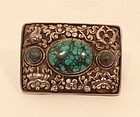 Tibetan Buddhist repousse silver and turquoise buckle v8