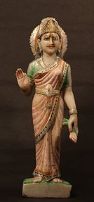 Indian 19th c Hindu temple statue of Lakshmi in marble
