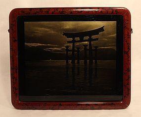 Japanese orotone photograph of Itsukushima Shrine at sea