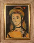 """Manfred Schwartz oil painting """"head"""" c 1935"""