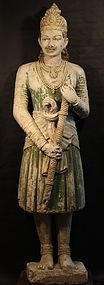 Indian 17th-18thc Mughal Palace Guard Statue in stucco