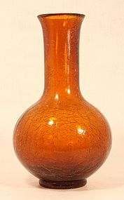Chinese Peking crackle glass vase in amber