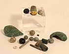 Ancient Egyptian and Roman bronze glass eye beads and fiance beads