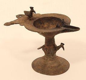 19th c lost was bronze oil lamp from Orissa
