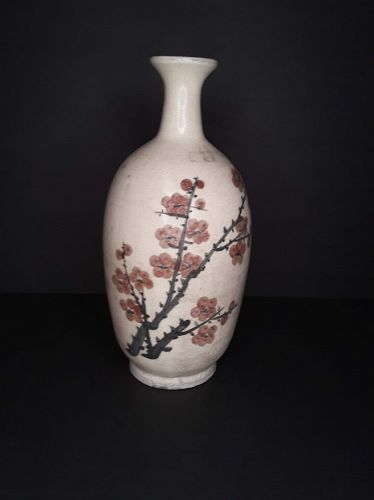 Chinese Qing Dynasty Cizhou style glazed bottle vase with birds