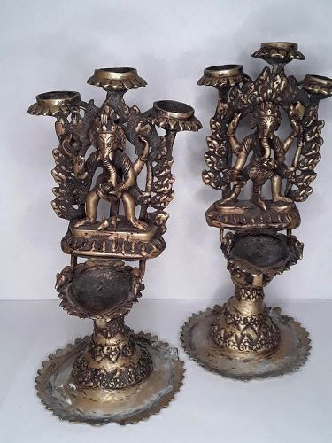 Himalayan lost wax cast bronze temple oil lamps with Ganesha